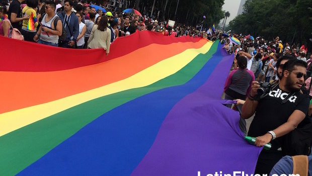 400-meter rainbow flag streamed through Mexico City's gay pride parade.