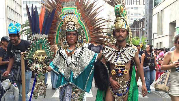 Traditional touches at Mexico City gay pride parade.