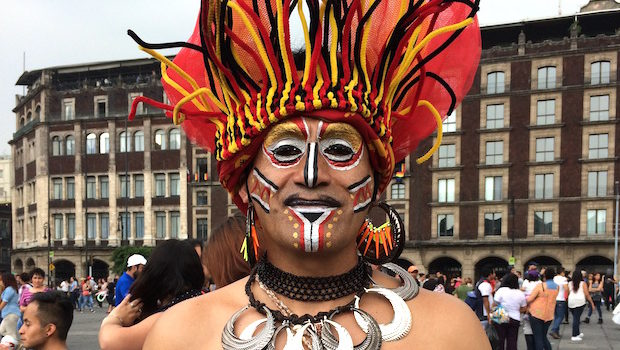 Colorful makeup & costumes at Mexico City LGBT pride festival.