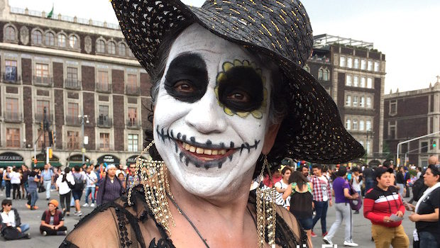 Day of the Dead influences at Mexico City's LGBT pride festival.