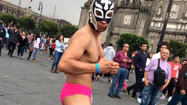 A Lucha Libre wrestler strikes a pose at the Mexico City gay pride festival.
