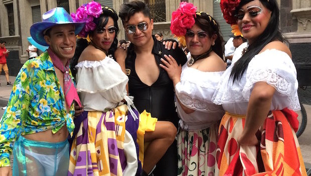 Colorful costumes of Mexico City's LGBT pride festival.