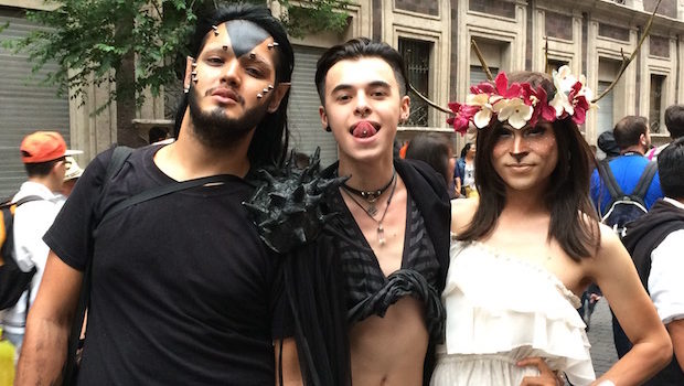 A bit of goth, a bit of color at Mexico City pride festival.
