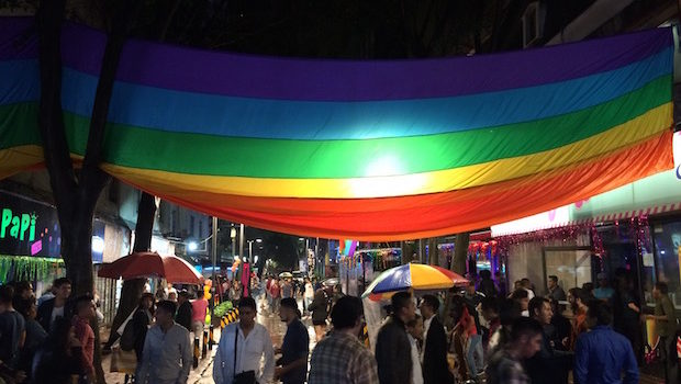 Mexico City's Zona Rosa district colored for gay pride after the parade.