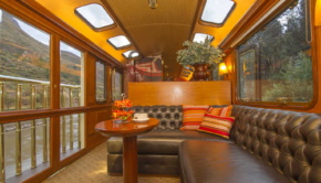 Presidential Class train car on Inca Rail, in Peru.