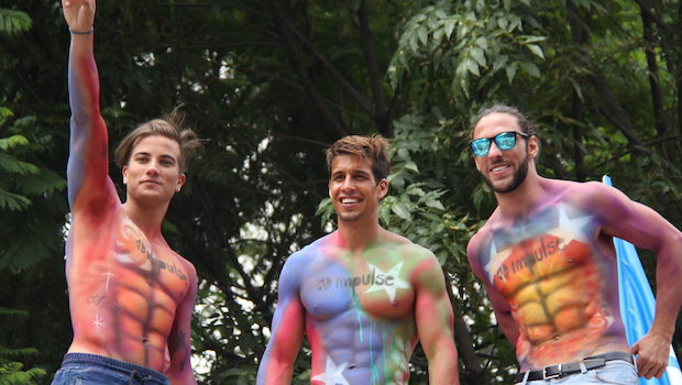 Handsome shirtless guys are easy to spot at Mexico City's gay pride.