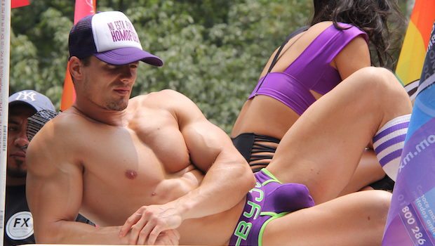 Handsome muscle guy at Mexico City gay pride parade.