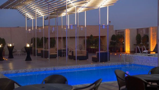 The revamped rooftop pool at Galeria Plaza Hotel in Mexico City.