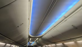 Boeing Sky Interior aboard the American Airlines Boeing 737.