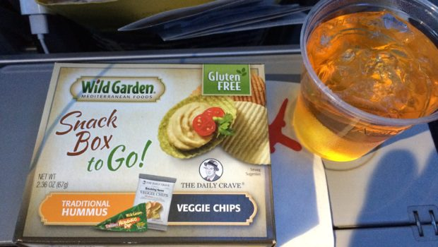 Airline food: Snacks for sale on American Airlines from DFW to Mexico City.
