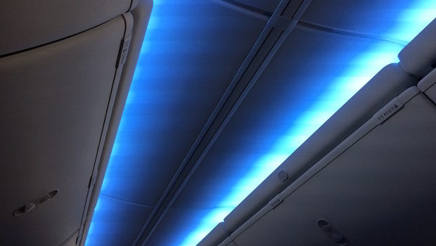 Boeing Sky interior on the American Airlines Boeing 737.