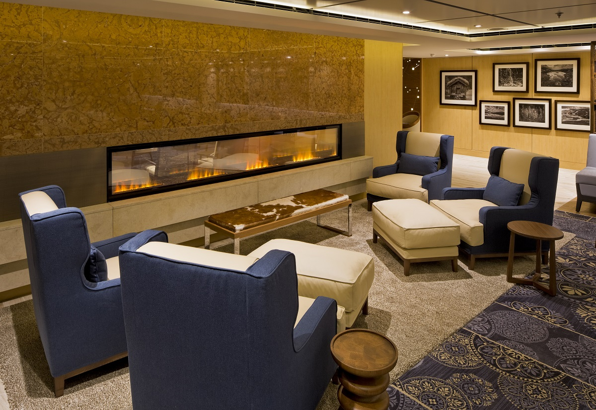 The Explorers' Lounge aboard Viking Cruises' Viking Star.