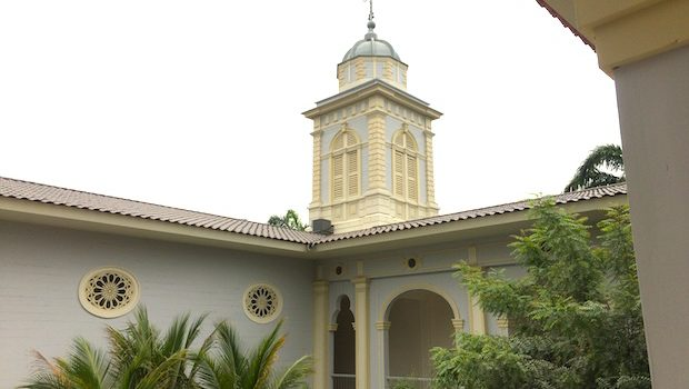 The bell tower now serves as a massage room at Hotel del Parque in Guayaquil.