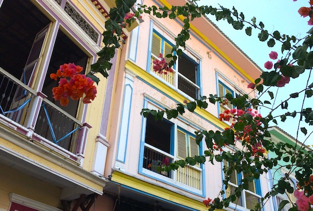 Historic architecture of Las Peñas district in Guayaquil.