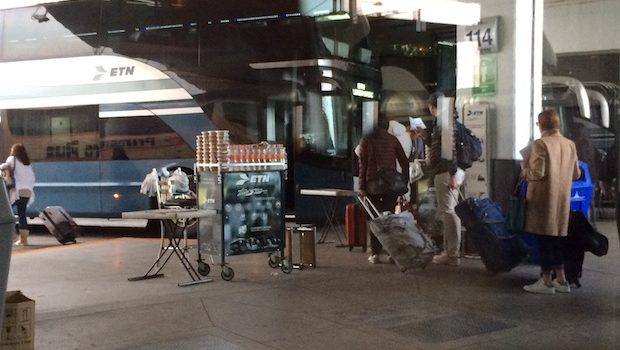 Boarding area (with snacks!) at Terminal Central del Norte bus station in Mexico City.