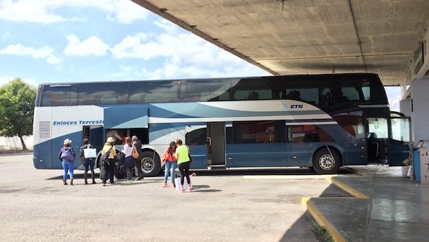 Double-decker ETN bus, arrived at San Miguel de Allende, Mexico.
