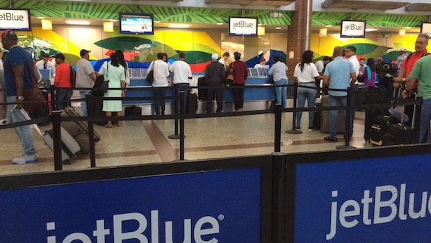 JetBlue ticket counter at the Santo Domingo airport.