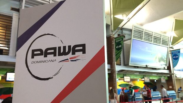 PAWA Dominicana airline ticket counter at Santo Domingo airport.