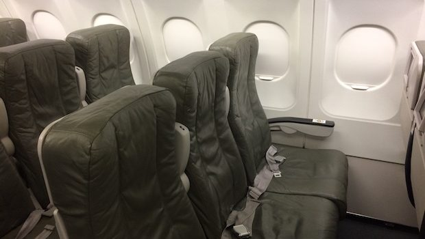 Airline seats on the JetBlue Airbus A320.