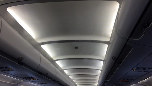 Cabin lighting in the JetBlue Airbus A320.