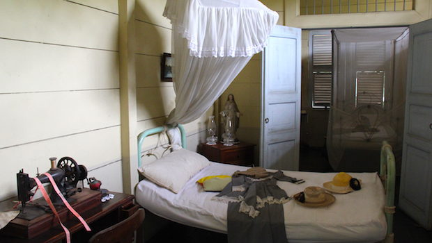 A bedroom in the historic Hacienda San Juan in Guayaquil.