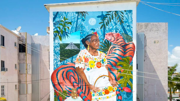 Street art by Aaron Glasson and Celeste Byres in Cancun.