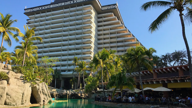 One of the pools and the main tower at the Princess Mundo Imperial Acapulco hotel.