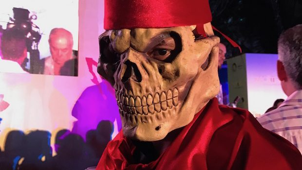 A demonic character from Zacatecas cast his gaze at the Tianguis cocktail party.