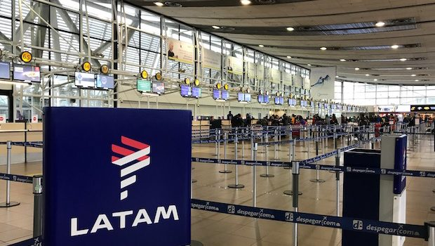 The LATAM ticket counter at the Santiago de Chile airport.