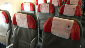 Airline seats aboard the LATAM Airbus A321.