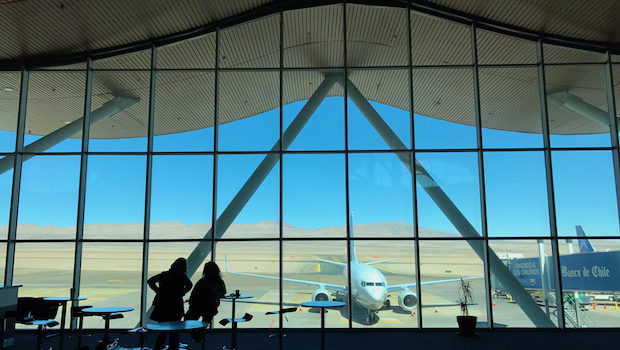 The Calama airport in Chile has lovely architecture that mimics the mountains.