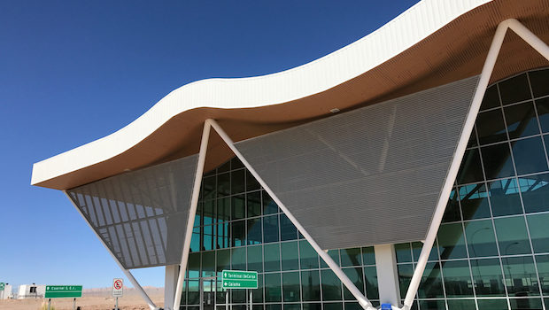 Striking architecture at the Calama airport in Chile.