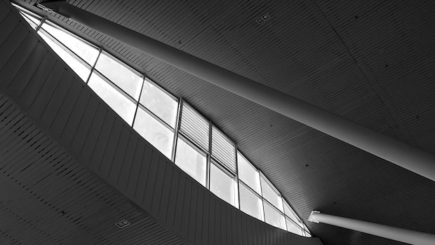 An eye-like window provides a gush of light at Calama airport in Chile.