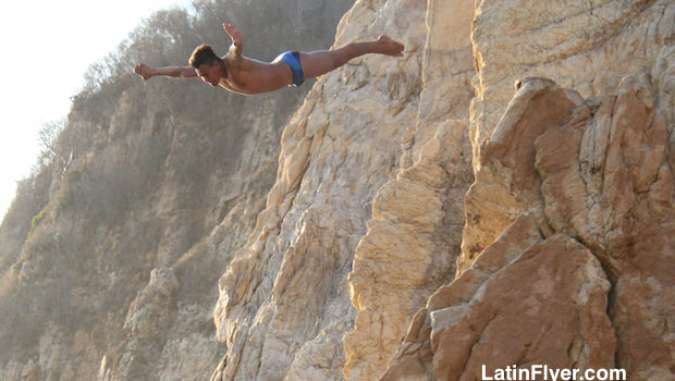 The Acapulco cliff diver takes flight.