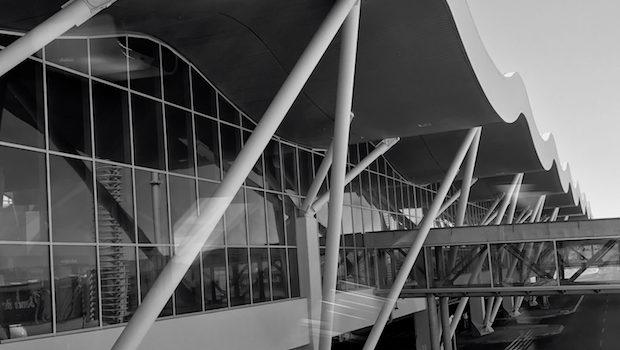 The airside facade of the terminal at Calama airport in Chile.