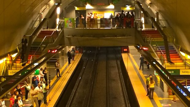An overview of the newly named Carlos Jáuregui subway station in Buenos Aires.