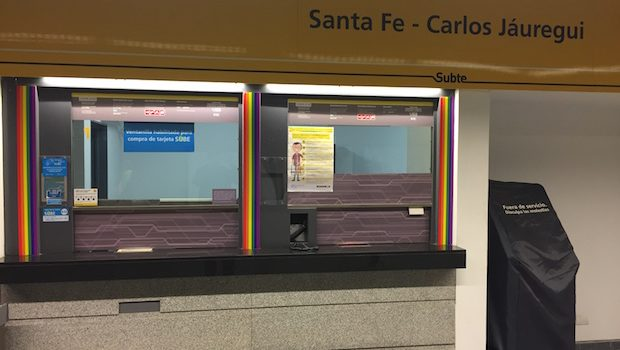 Rainbow accents at the Buenos Aires Subte station named for LGBT activist.