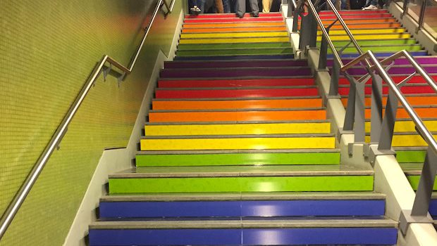 The colors of the gay pride flag grace the steps of this Buenos Aires Subte station.