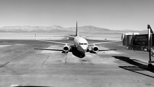 Mountains provide a stunning backdrop for arrivals at Calama airport in Chile.