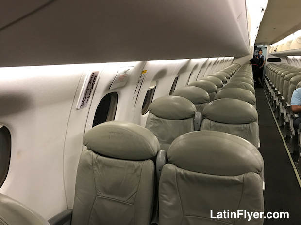 Airline seats aboard the Aeromexico Embraer 190.
