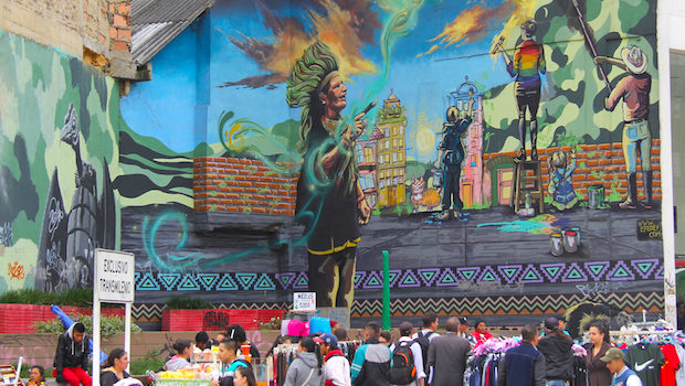 Indigenous culture is the focus of this street art in Bogota.
