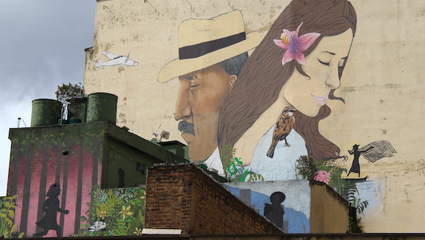Large street art, murals and graffiti in Bogota are created with the permission of building owners.