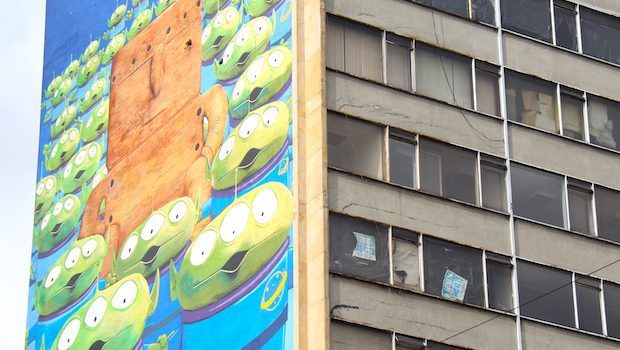 Modern pop culture and art combine in Bogota's street art scene.