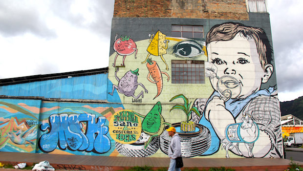 Colorful street art and graffiti in Bogota, Colombia.