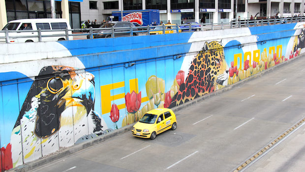 Wildlife provide color to the street art along this highway in Bogota.