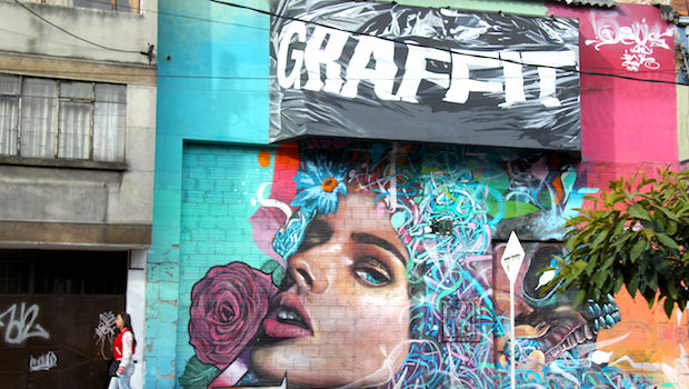Self-referential street art celebrates graffiti in Bogota.