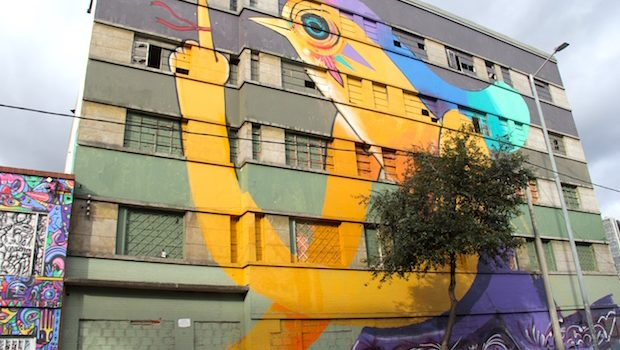 Fantastical wildlife resides on the side of this building in Bogota.