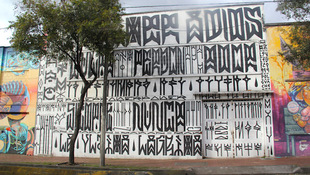 Black-and-white street art isn't common in Bogota, but here's one example.