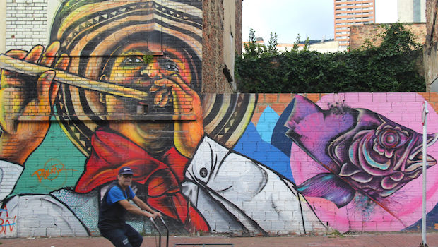 Daily life is reflected in the street art and graffiti in Bogota.