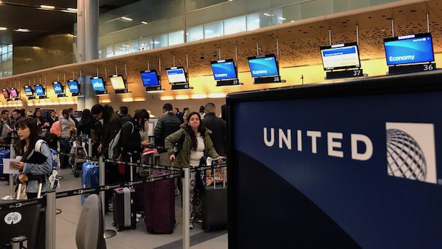 The United Airlines ticket counter at Bogota airport.